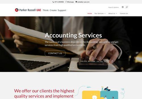 لقطة شاشة لموقع Audit Firms in Dubai | Parker Russell UAE بتاريخ 09/04/2021 بواسطة دليل مواقع سكوزمى
