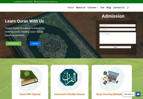 لقطة شاشة لموقع Unique Quran Academy - Online Quran teaching institute بتاريخ 08/08/2020 بواسطة دليل مواقع سكوزمى