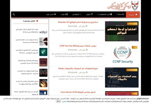 لقطة شاشة لموقع ويكي كالي لينكس بتاريخ 21/10/2020 بواسطة دليل مواقع سكوزمى